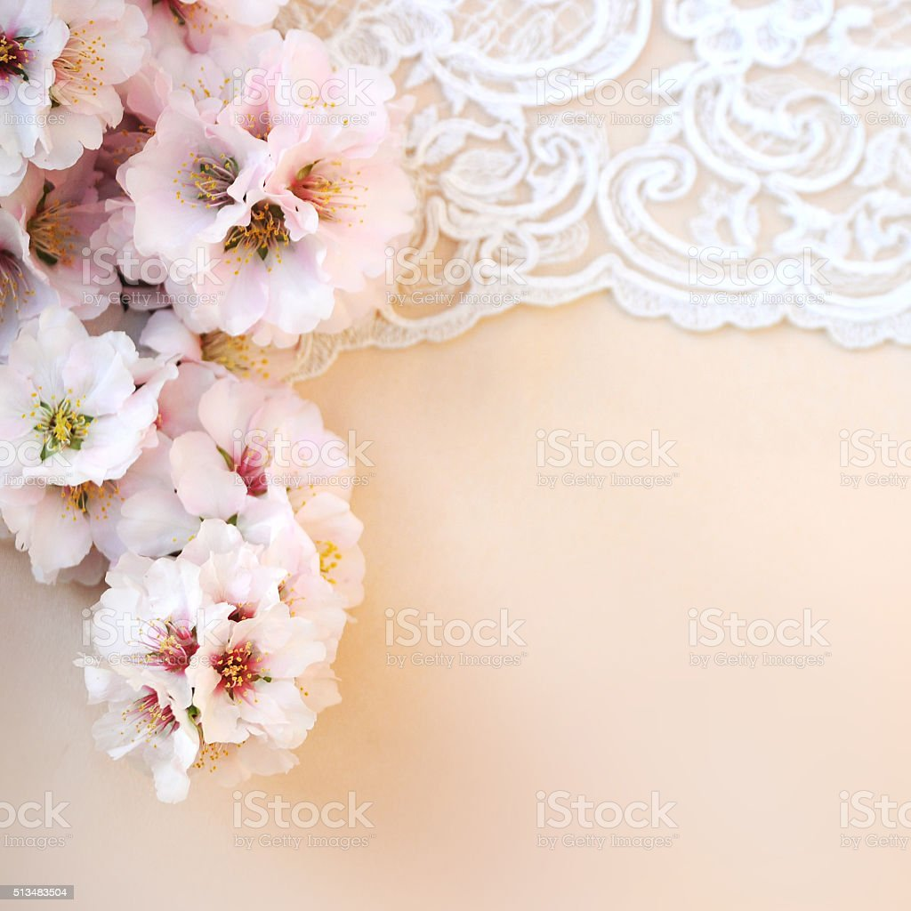 Wedding background closeup with pink almond flowers stock photo