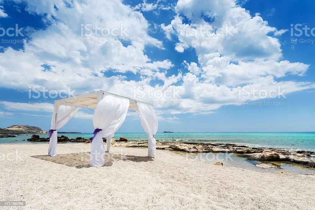 Wedding baldachine on Rhodes Island stock photo