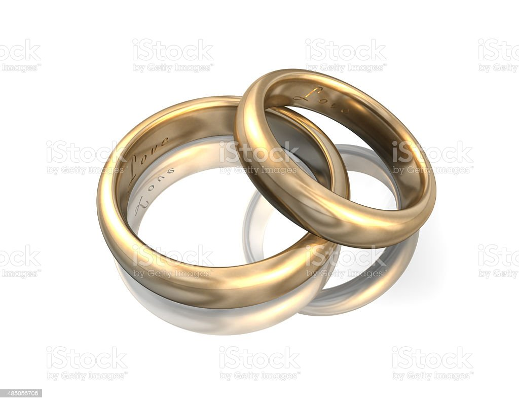 Wedding Bands Gold 3D stock photo
