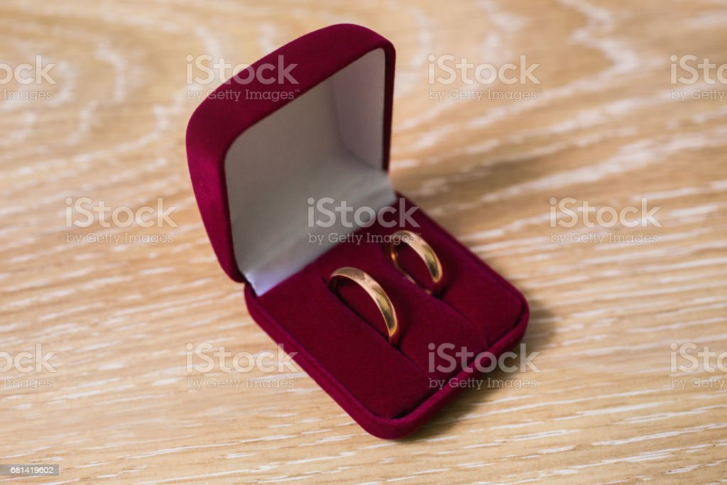wedding bands, wedding rings in the red box, wedding jewelry, wedding preparation stock photo