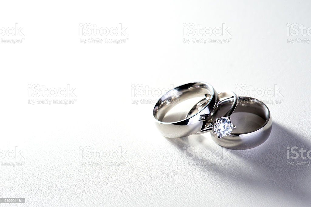 Wedding bands with diamonds stock photo