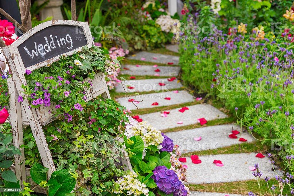 wedding banquet in garden stock photo
