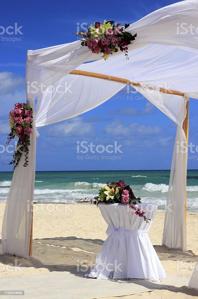 Wedding beach party preparation royalty-free stock photo