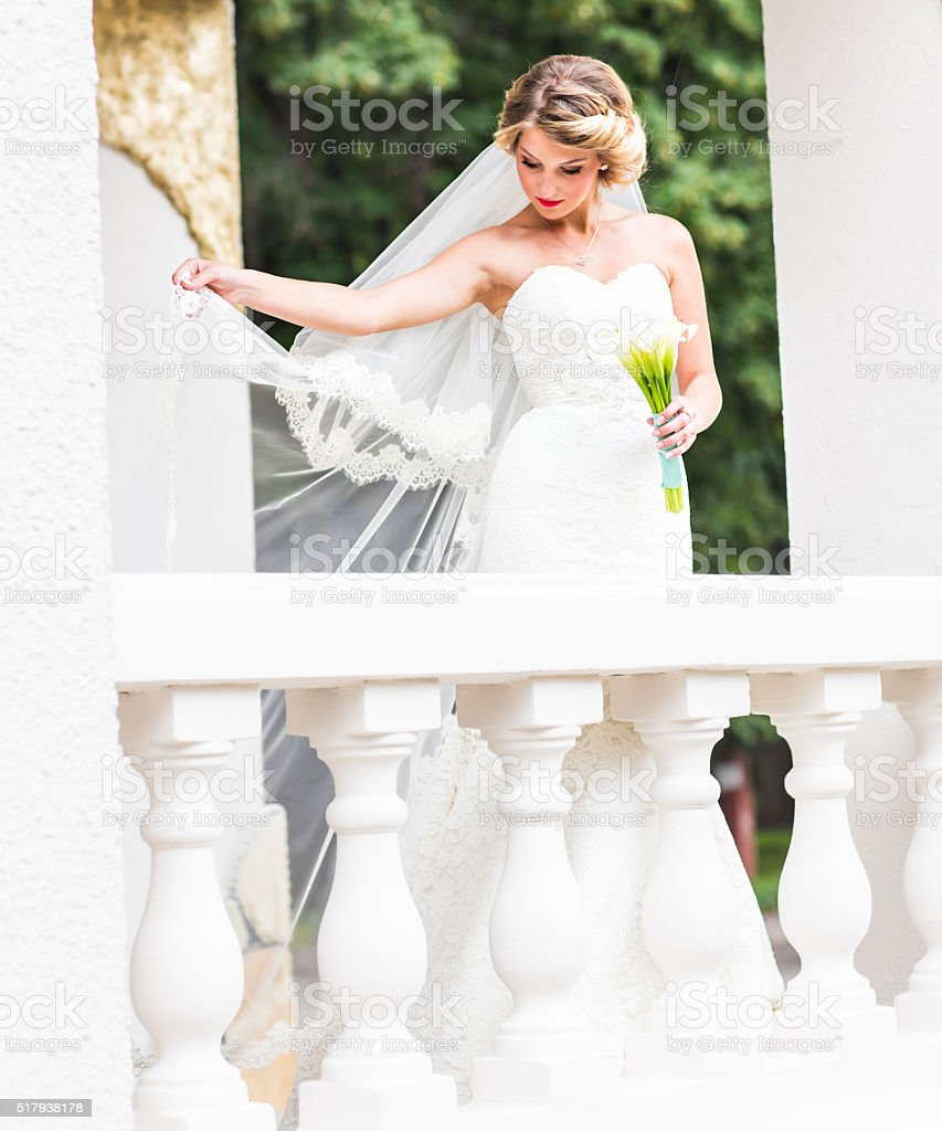 Wedding. Beautiful bride with bouquet stock photo