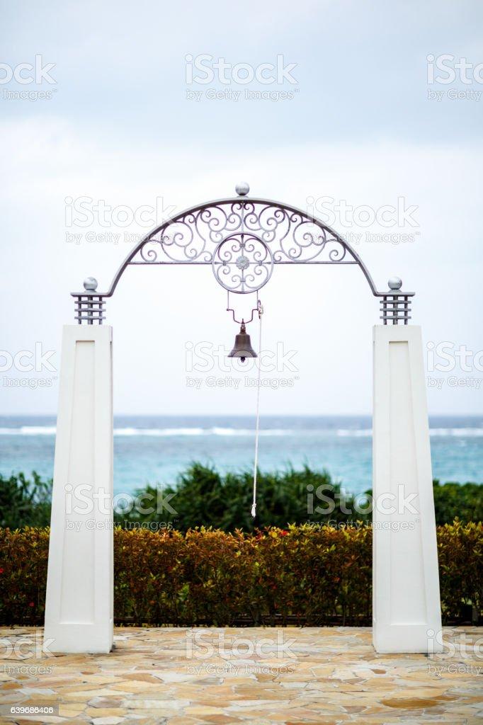 wedding bell in okinawa stock photo