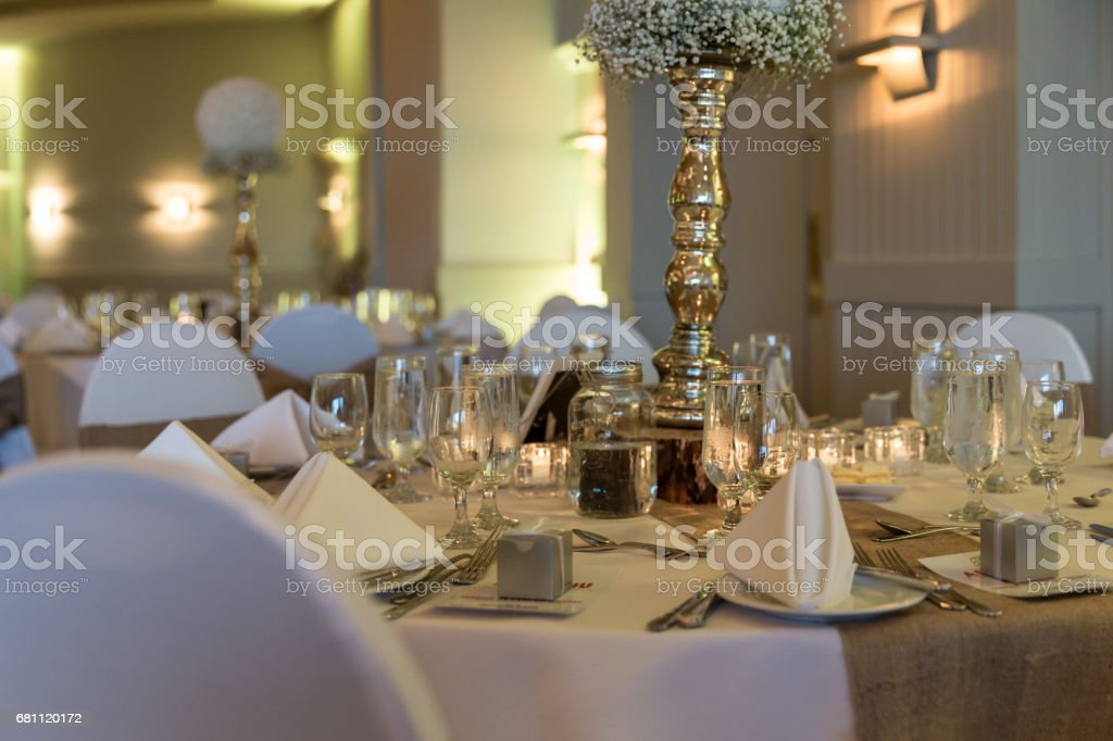 Wedding Birthday Reception Decoration, Chairs, Tables and Flowers stock photo