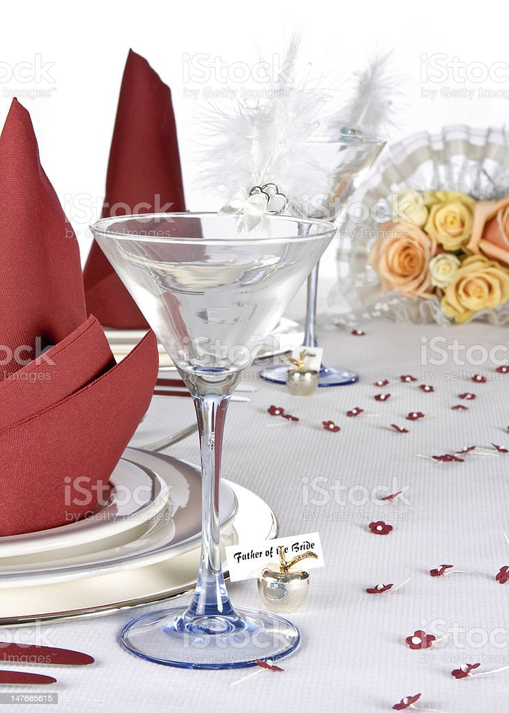 Wedding bouquet and dishes royalty-free stock photo
