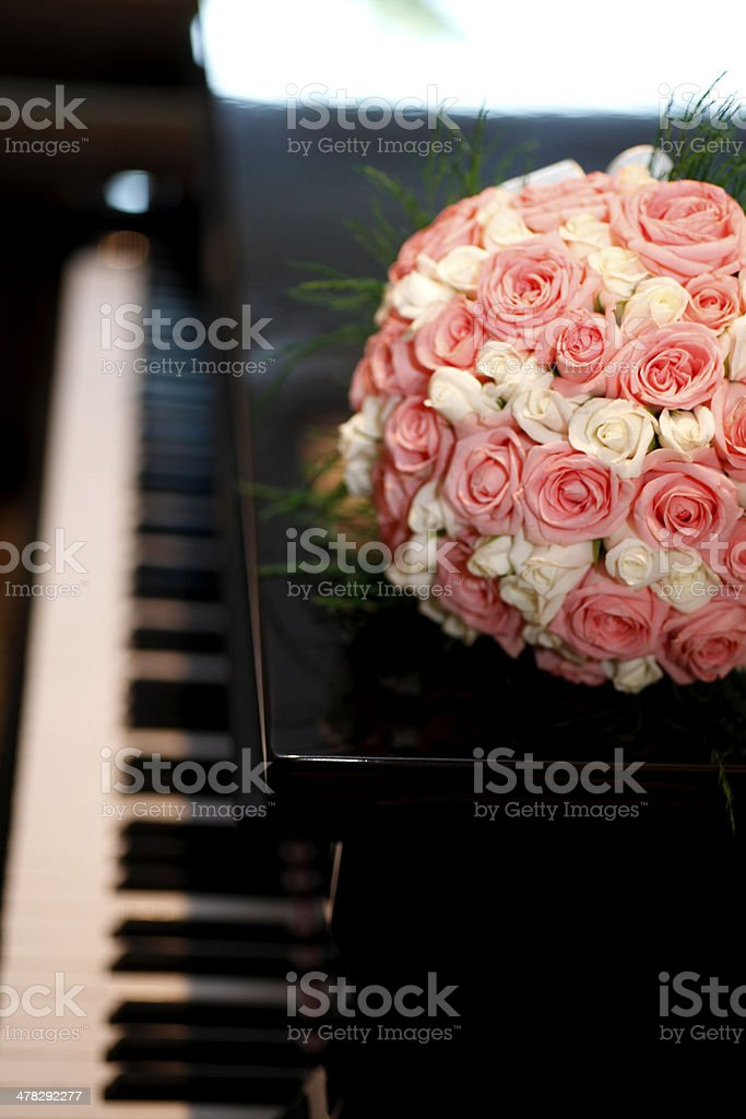 wedding bouquet and piano royalty-free stock photo