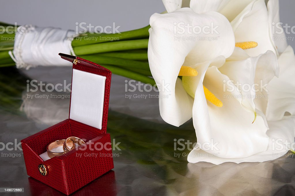 Wedding Bouquet and Ring royalty-free stock photo