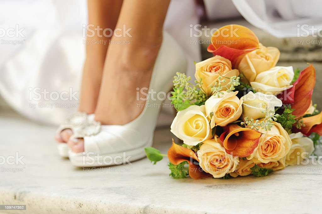 Wedding Bouquet and Shoes royalty-free stock photo