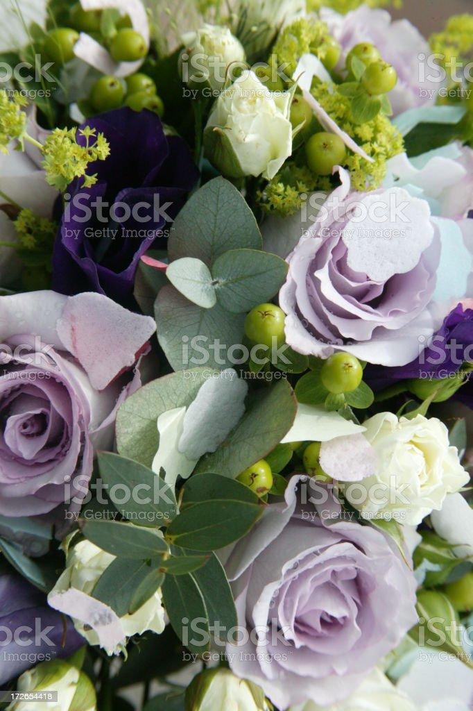 wedding bouquet & confetti royalty-free stock photo
