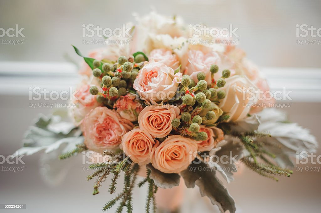 wedding bouquet from light pink colors stock photo