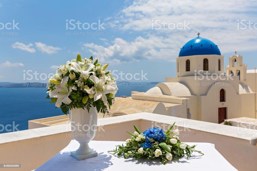 Wedding bouquet in a white vase stock photo