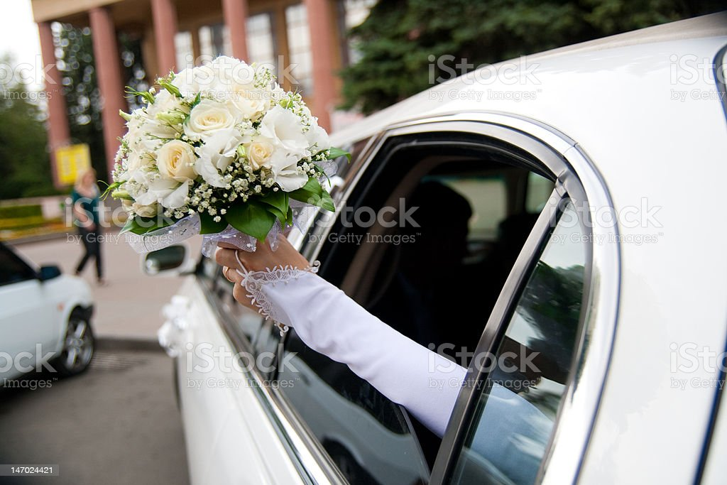 wedding bouquet in hand stock photo
