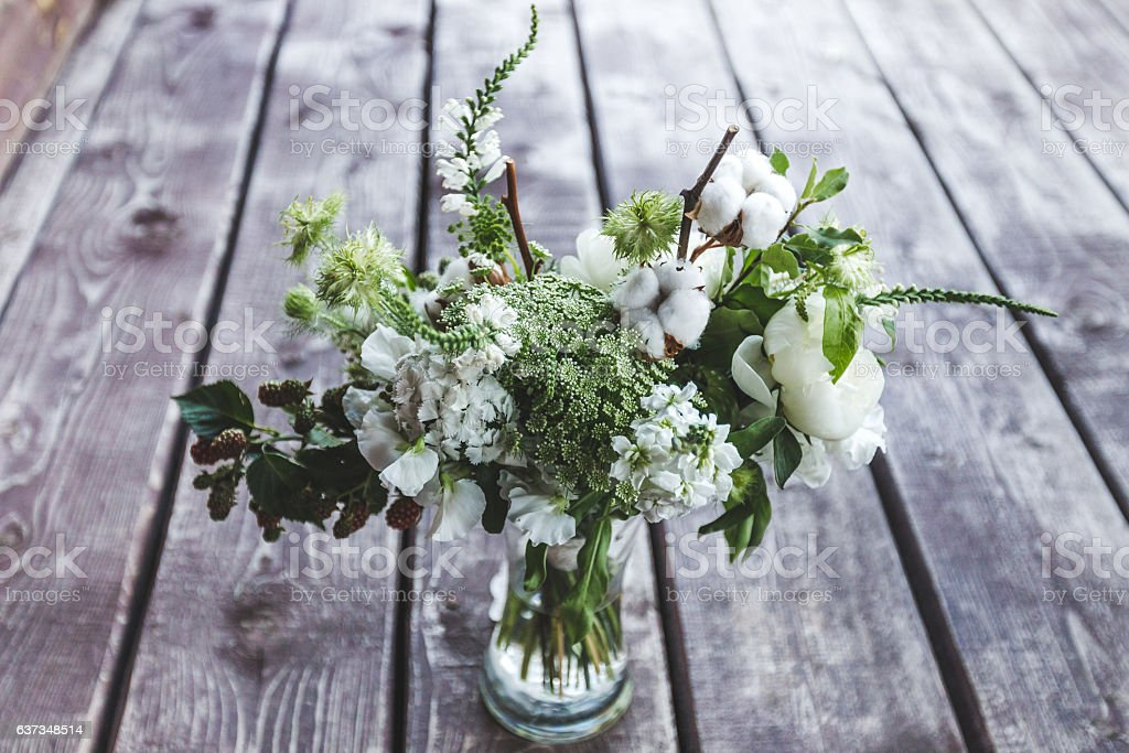 Wedding bouquet in rustic style stock photo