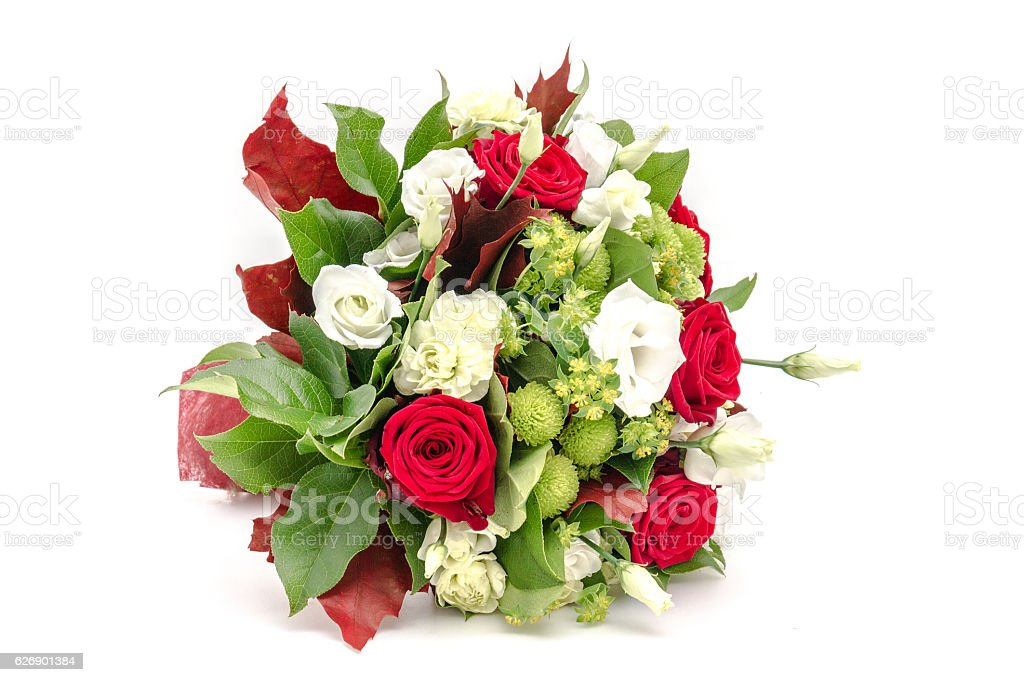 wedding bouquet made of red roses and white flowers stock photo