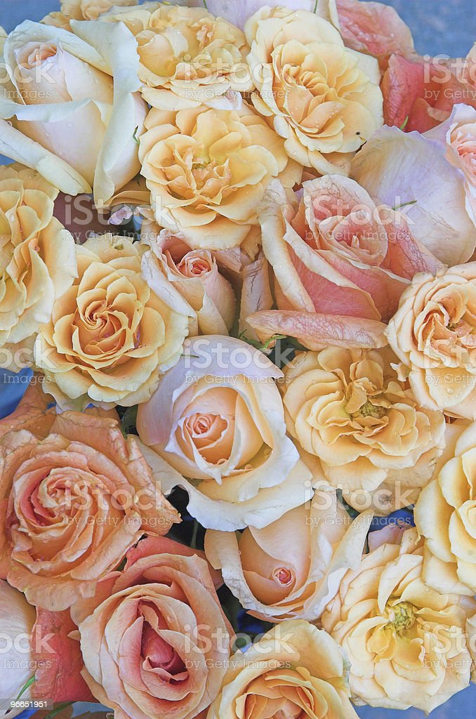 wedding bouquet of pastel roses royalty-free stock photo