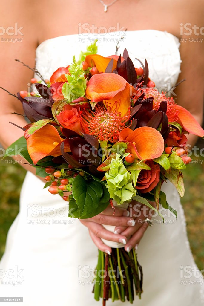 Wedding Bouquet (Fall Colors) royalty-free stock photo
