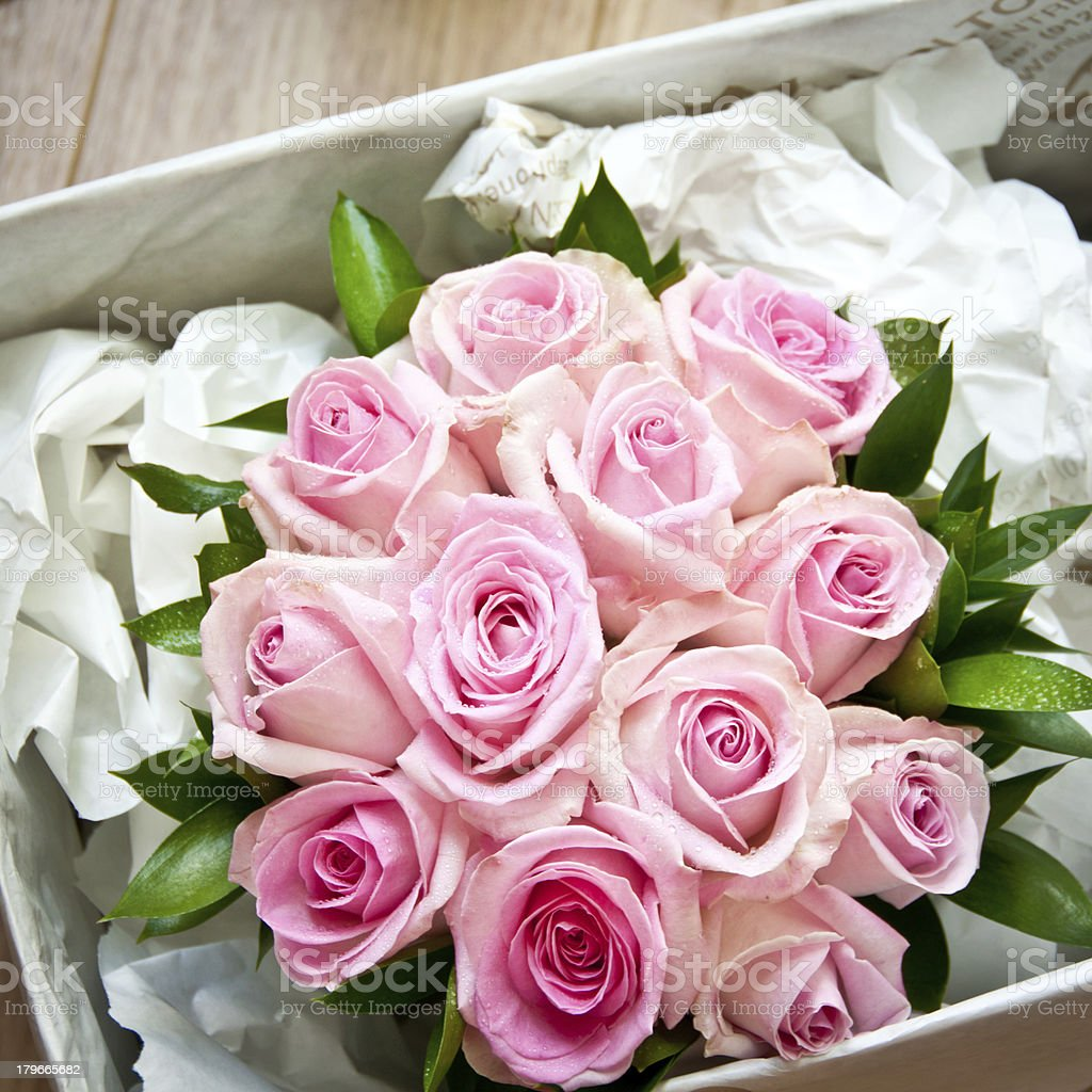 Wedding Bouquet Pink Rose Posy in a box royalty-free stock photo