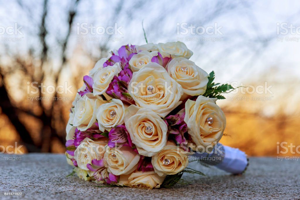 Wedding bouquet with pink and roses stock photo
