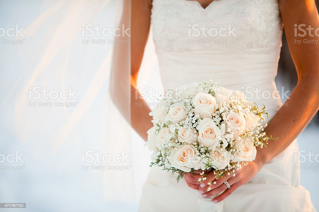 Wedding bouquet with Roses and Baby?s breath flowers stock photo