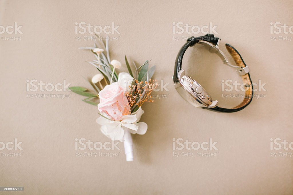 Wedding boutonniere on background stock photo