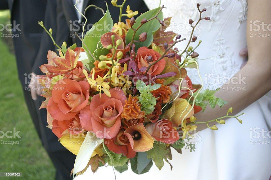 Wedding Bridal Bouquet Beautiful Flowers Outside royalty-free stock photo