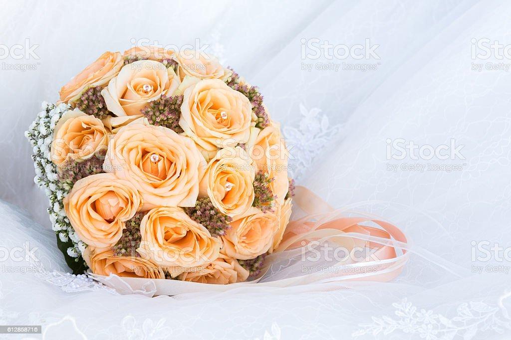 Wedding bridal bouquet of roses. isolated stock photo