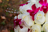 Wedding bridal bouquet with roses.