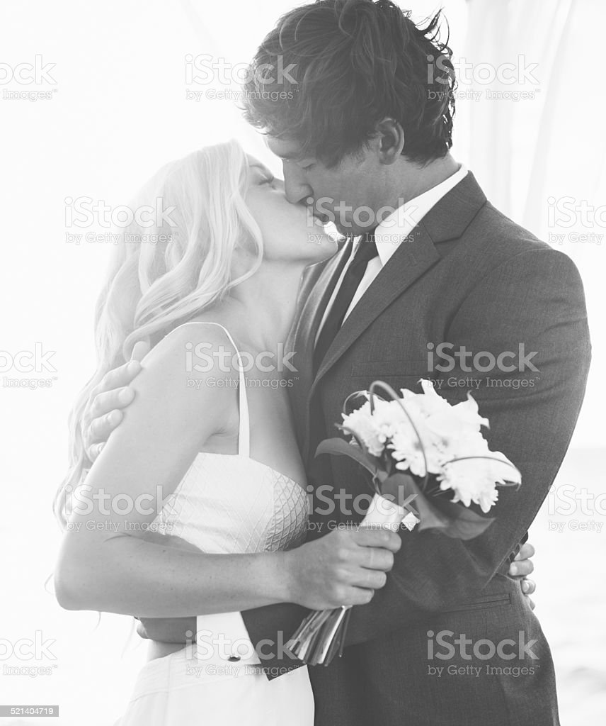 Wedding, Bride and Groom Just Married stock photo