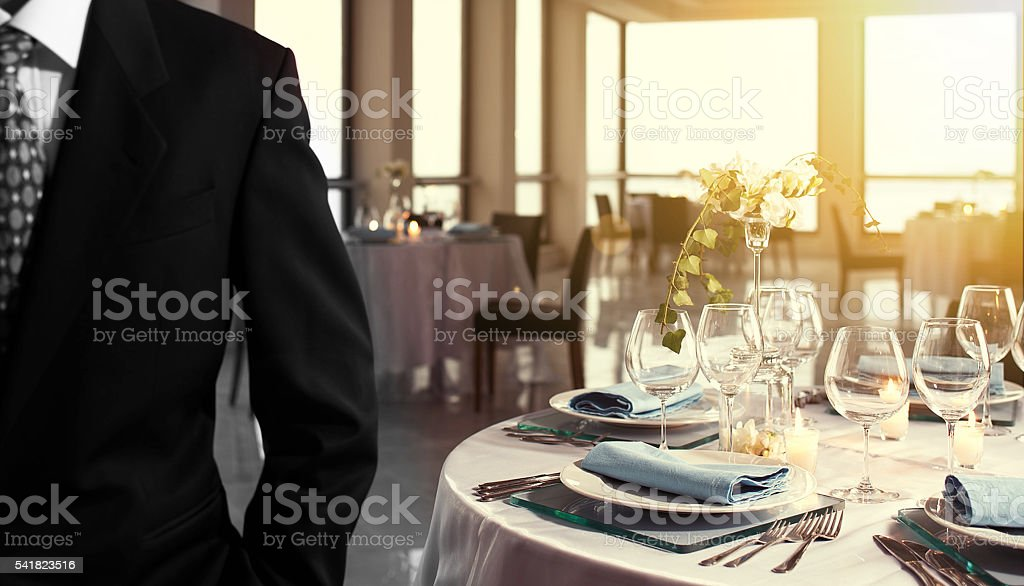wedding business table setting stock photo