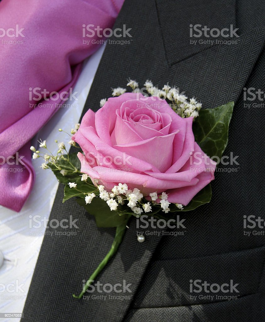 Wedding Button Hole and Cravat royalty-free stock photo