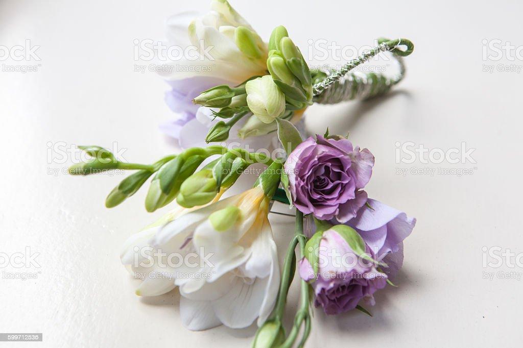 wedding buttonhole boutonniere stock photo