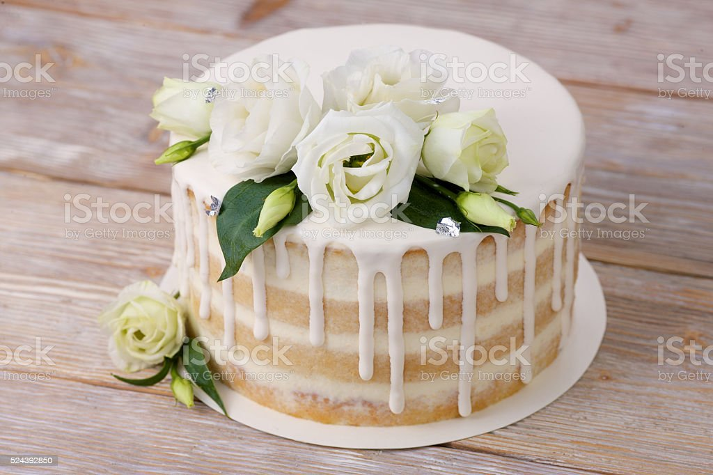 Wedding cake an eadible silver and flowers stock photo