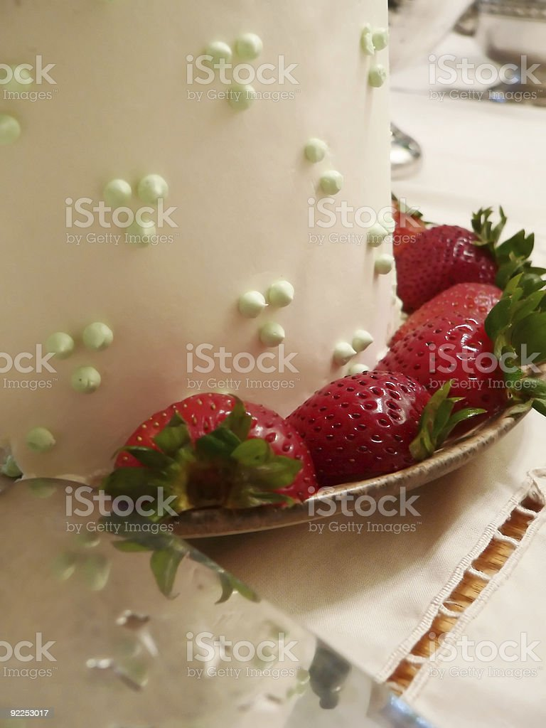 Wedding Cake and strawberries detail stock photo