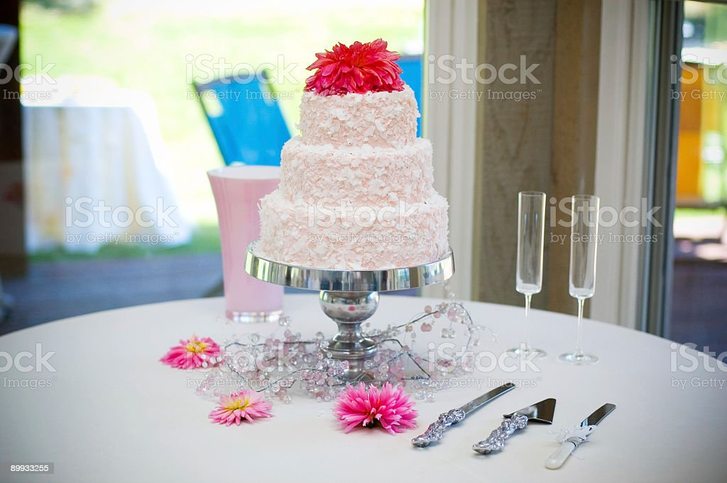 Wedding Cake and Utensils royalty-free stock photo
