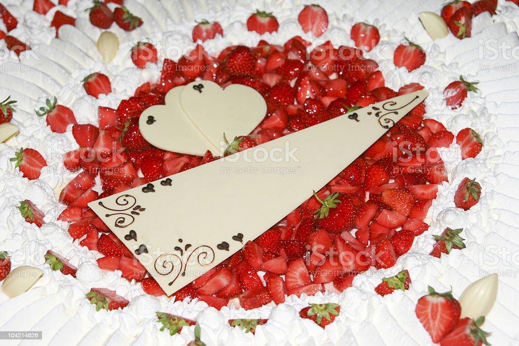 Wedding Cake closeup, Red Fresh Strawberries stock photo