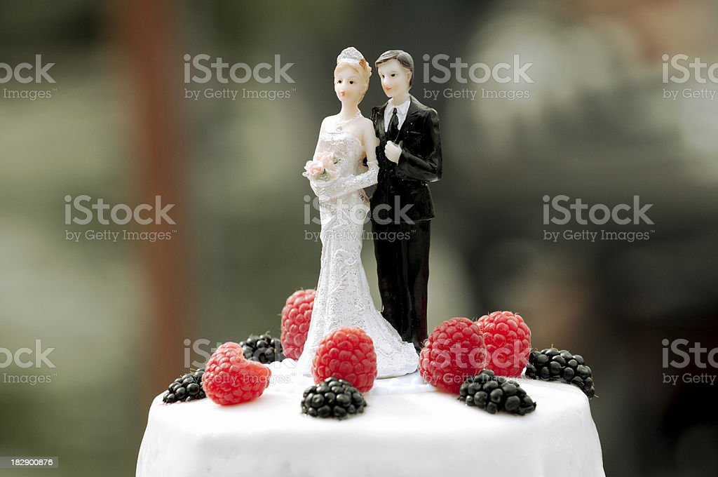 Wedding cake figurine  with raspberry and icing stock photo