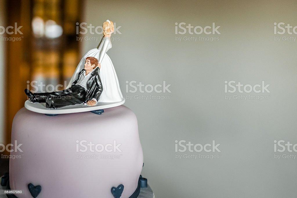 Wedding Cake Figurine wtih Copy Space stock photo
