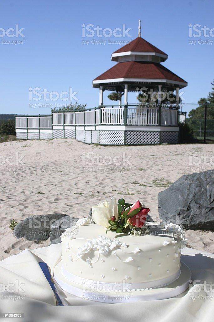 Wedding Cake on the Beach royalty-free stock photo