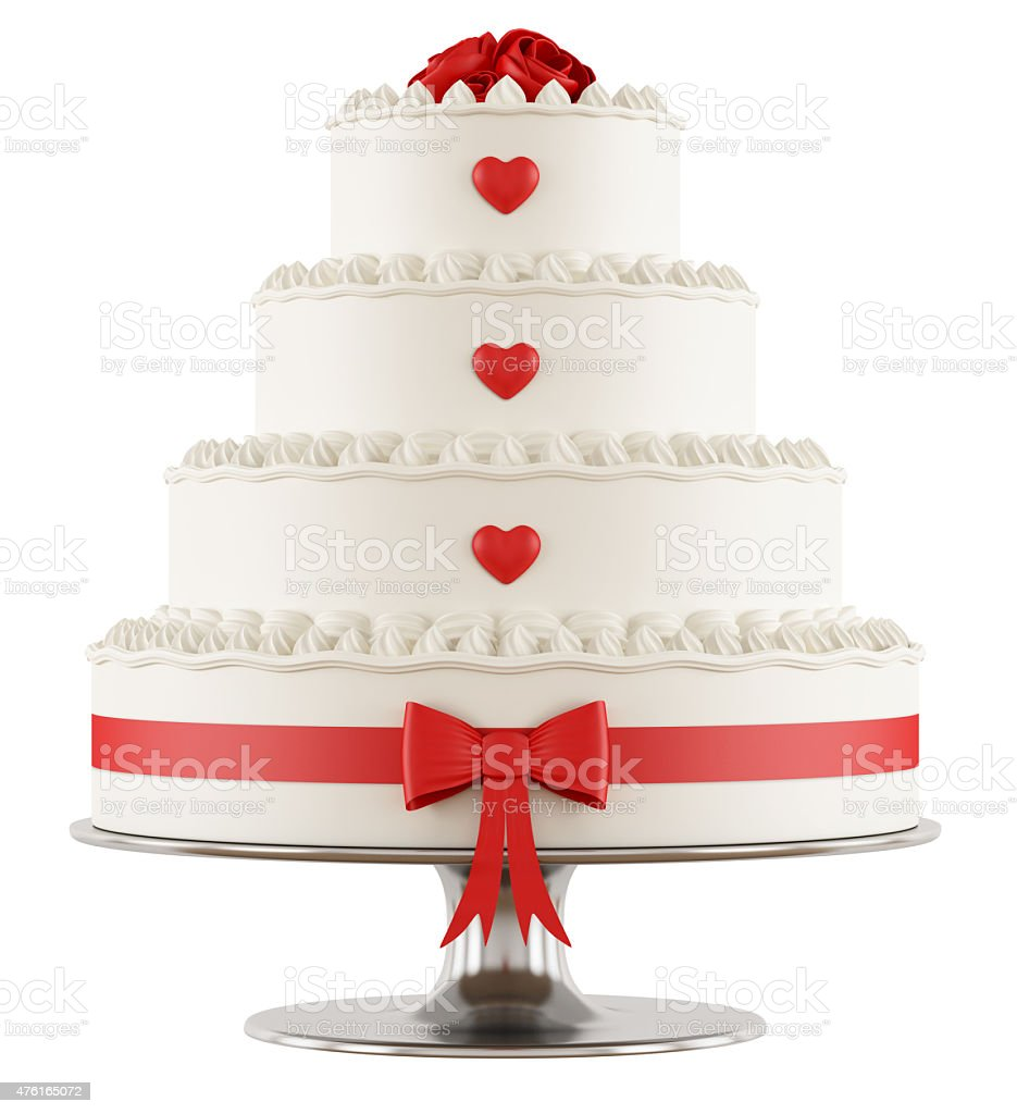 Wedding cake on white stock photo