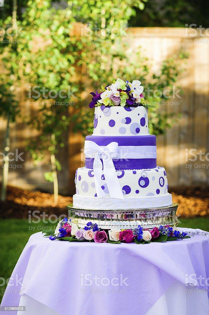 Wedding Cake - Purple Dots stock photo