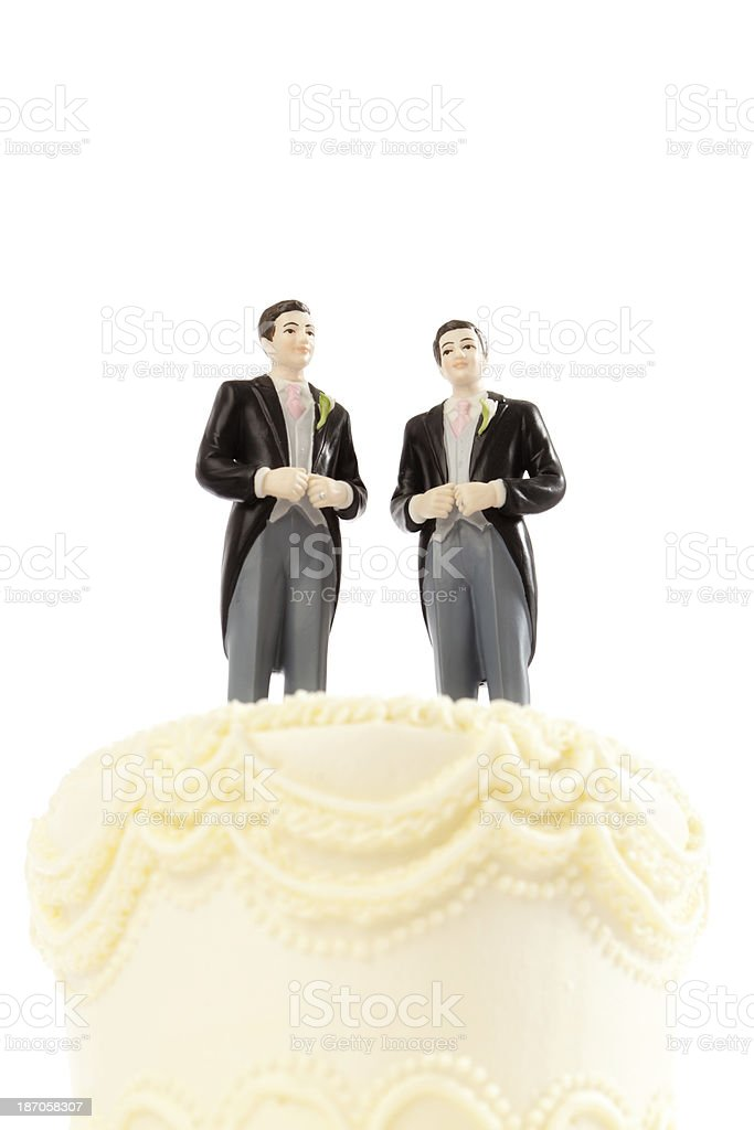 Wedding Cake Topper Figurines for Gay Same Sex Marriage royalty-free stock photo