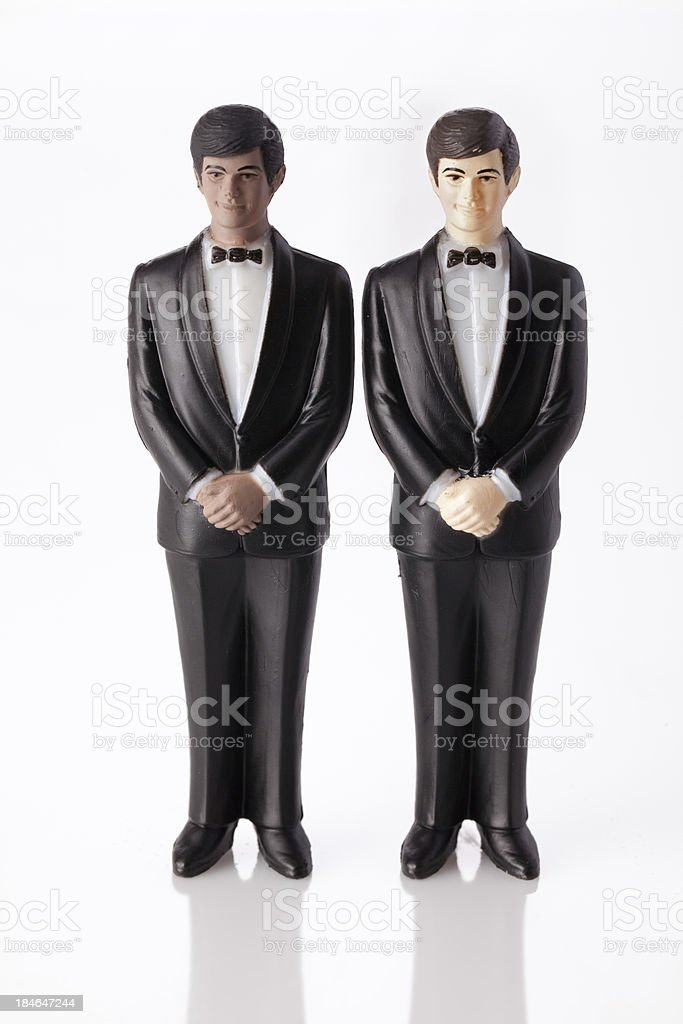 Wedding cake topper - Two Grooms. stock photo