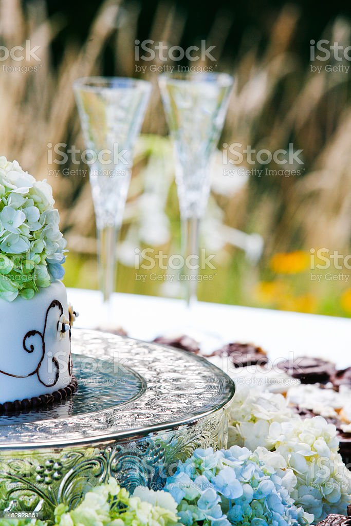 Wedding Cake with Hyacinth & Champagne royalty-free stock photo