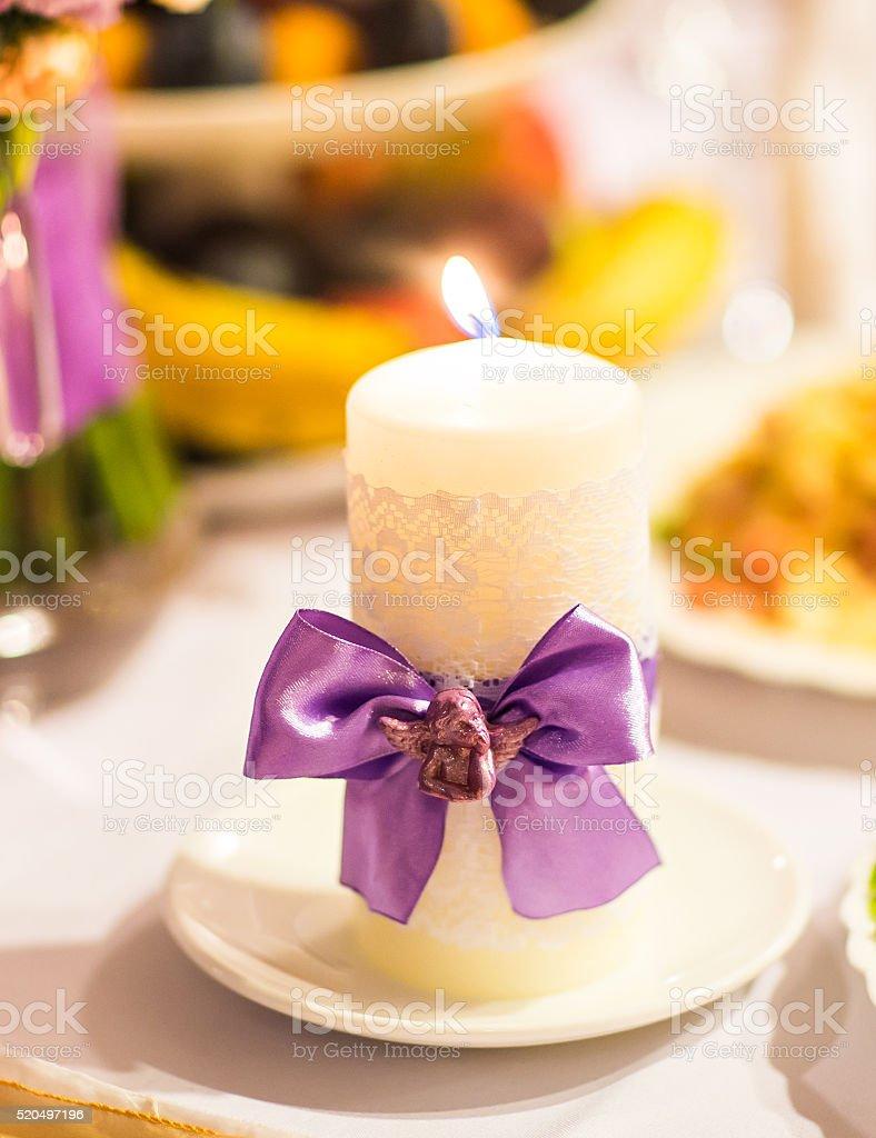 wedding candles decoration stock photo