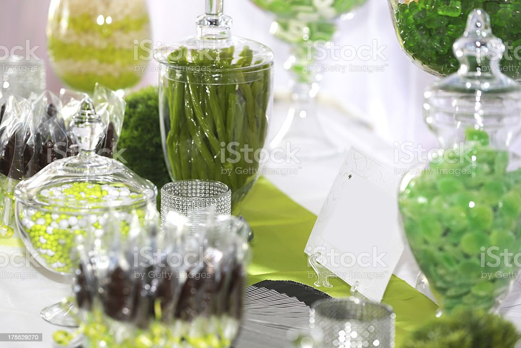 Wedding Candy Bar Buffet Table and Decoration stock photo