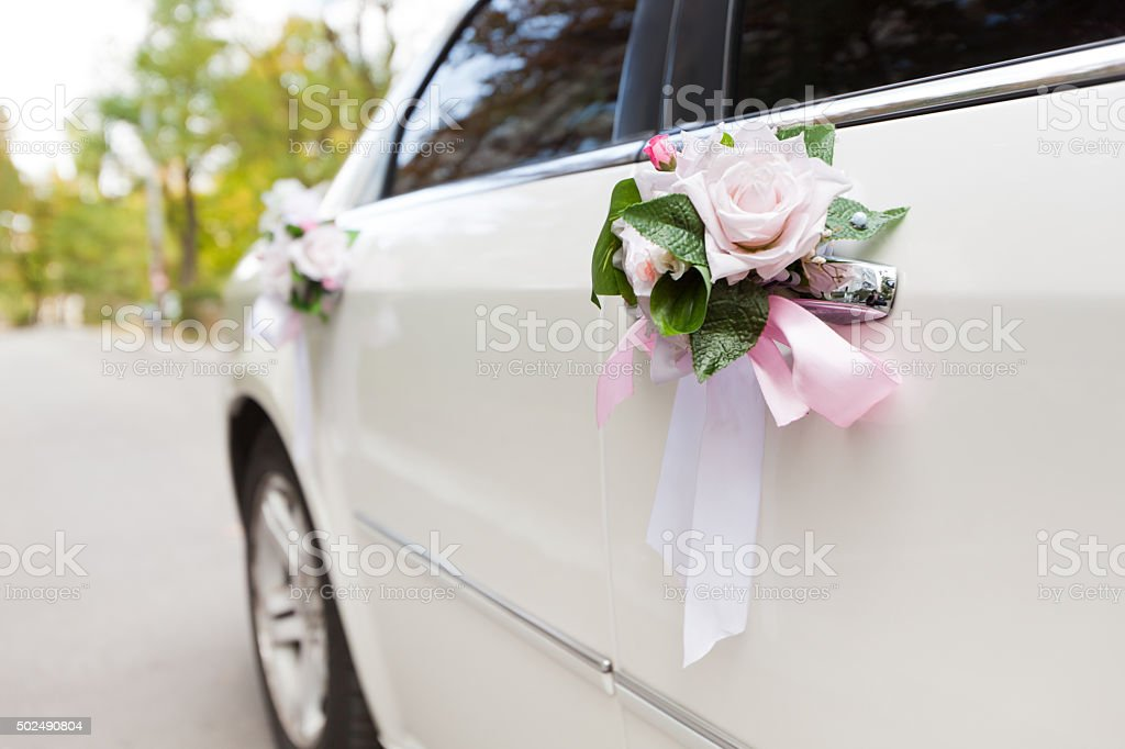 Wedding Car decorated flowers stock photo