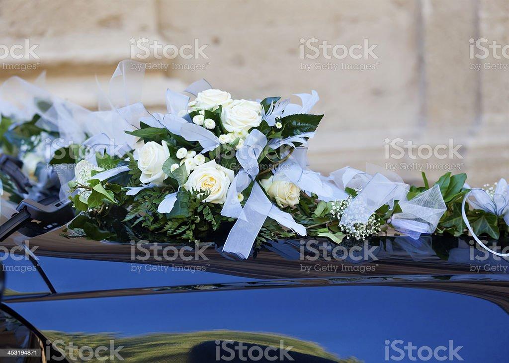 Wedding Car Flowers royalty-free stock photo