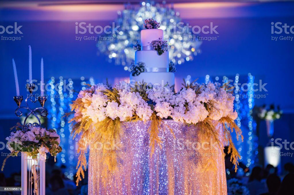 wedding celebration cake made from fresh with withe flower stock photo